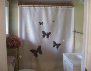 Bath Shower Curtain 5 butterflies flutter by five sky heaven