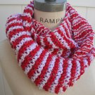 Red White Hand knitted Infinity scarf Women Scarves Infinity Jersey Scarf Free Shipping - by PIYOYO
