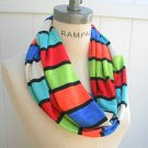 Color Block Infinity Scarf Multicolor Circle Scarf Winter  Fashion - By PiYOYO