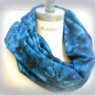 Blue Infinity Scarf Acid Washed Jean Blue Scarf Women Scarves Spring Gift - by PiYOYO