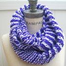 Purple White Hand Knit Cowl Women Scarves Winter Fashion - By PiYOYO