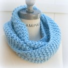 Blue Infinity Scarf Hand Knitted Cowl  Winter Fashion - By PIYOYO