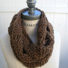 Hand Knitted Infinity Scarf Brown Cowl Scarf Winter Fashion Lightweight Neck warmer - By PIYOYO