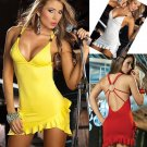 Sleeveless Backless Low-cut  Halter Short Tight Dress w/ RufflesNight Club Wear