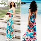 Bohemian Style Tube Dress Full-length Chiffon Dress with Flower Prints for Women lady NLD-74617