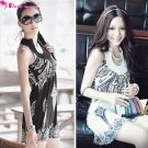 (DEAR LOVER) Flower Pattern Sleeveless One-piece Dress with Round Neck NTL-80861