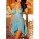 Sheer Sun-top Alluring Underwear Naughty Underskirt Sexy Lingerie Dress with Hot Shorts