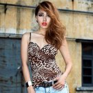 (KRAZY) Leopard Pattern Deep V Neck Sun-top Tops with Spaghetti Strap for Girl Lady Women NDD-67228
