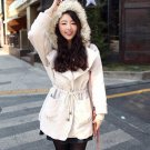 Hairy Collar Bracelet Sleeve Worsted Coat Waisted Hooded Overcoat Wrap for Women Ladies NDD-57191