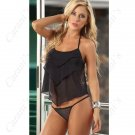 (DEAR LOVER) Seductive Lace & Spandex Set Babydolls Nightdress + G-string NSL-69964