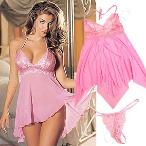 seductive Sun-top Sexy Lingerie Dress with Hot T-Back - Pink  NSL-40292