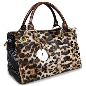 Luxury Fabulous Trend Women's Tote/Shoulder Handbag TIGER SKIN BEIGE