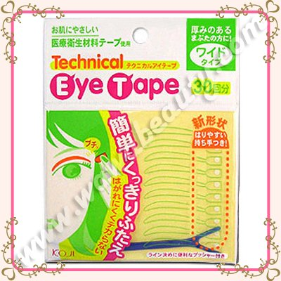 Koji Double Eyelid Technical Eye Tapes with Fork Applicator, Wide, 60 Pieces