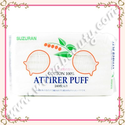Suzuran 100% Pure Cotton Attirer Puff, 240 Pads
