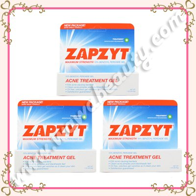 ZAPZYT Maximum Strength 10% Benzoyl Peroxide Acne Treatment Gel, 3 Tubes
