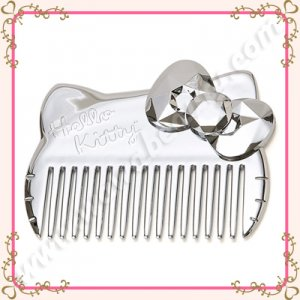 Sanrio Hello Kitty Metallic Silver Wide Tooth Hair Comb, Limited Edition