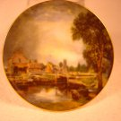 "CROWN STAFFS ENGLAND MINI HAND PAINTED ""FARM HOUSE & CREEK"" DECORATIVE PLATE"