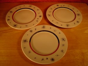 "(SET OF 3) VINTAGE FINE ARTS, 6 3/8""  BLACK AND WHITE CHINA BREAD PLATES"