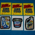 WACKY PACKAGES ANS2 *** THREE BONUS STICKERS*** B5,B6,B7