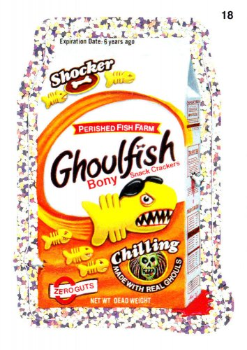 2011 WACKY PACKAGES ANS8 SILVER FLASH FOIL **GHOULFISH** #18 NM