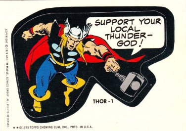 1975 MARVEL COMIC BOOK SUPER HEROES **THOR-1** STICKER CARD