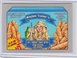 "2017 WACKY PACKAGES 50th ANNIVERSARY SILVER STICKER ""MEGHAN FISH STICKS"" 42/50"