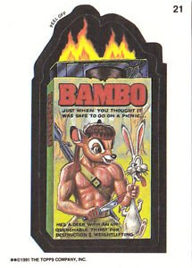 """WACKY PACKAGES 1991 SERIES """"BAMBO"""" #21 STICKER CARD"""