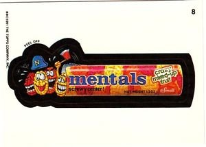 """WACKY PACKAGES 1991 SERIES """"MENTALS"""" #8 STICKER CARD"""