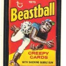 "1975 WACKY PACKAGES ORIGINAL 13th SERIES ""BEASTBALL"" STICKER"