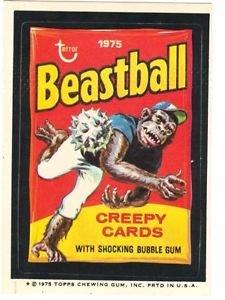 """1975 WACKY PACKAGES ORIGINAL 13th SERIES """"BEASTBALL"""" STICKER"""