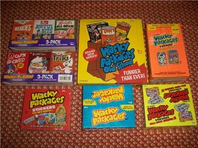 WACKY PACKAGES 7-BOX LOT -ANS1,ANS2,ANS3,ANS6,OS2 + BOTH ANS9 CEREAL BOXES.WOW