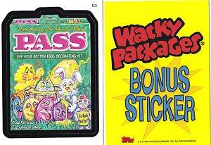 """2007 WACKY PACKAGES ALL NEW SERIES 6 (ANS6) """"PASS"""" BONUS STICKER  B3"""