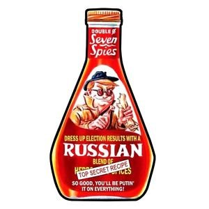 """2017 WACKY PACKAGES/GPK TRUMPOCRACY 1ST 100 DAYS """"SEVEN SPIES RUSSIAN DRESSING"""""""