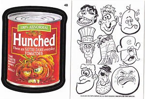 """2015 WACKY PACKAGES SERIES 1 WACKY BACKS """"HUNCHED"""" #48 RARE BACK STICKER CARD"""