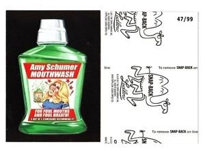 "2017 Wacky Packages 50th Anniversary BLACK LUDLOW ""AMY SCHUMER MOUTHWASH"" 47/99"