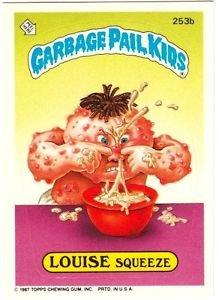 "1987 GARBAGE PAIL KIDS ORIGINAL 7TH SERIES ""LOUISE SQUEEZE"" #253b STICKER CARD"