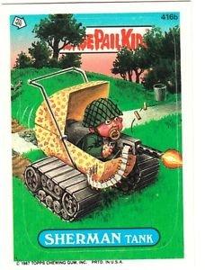 """1987 GARBAGE PAIL KIDS ORIGINAL 10TH SERIES """"SHERMAN TANK"""" #416b STICKER CARD"""