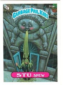 """1987 GARBAGE PAIL KIDS ORIGINAL 8TH SERIES """"STU SPEW"""" #311a STICKER CARD"""