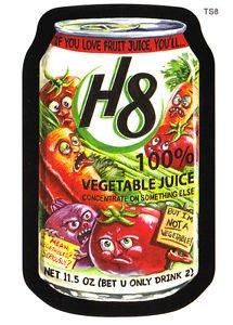 "WACKY PACKAGES POSTCARDS SERIES6  ""H8 VEGETABLE JUICE"" BONUS CARD #TS8 HT"