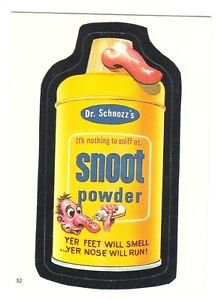 """1986 WACKY PACKAGES ALBUM SERIES STICKER """"SNOOT POWDER"""" #52 ONLY 99 CENTS"""