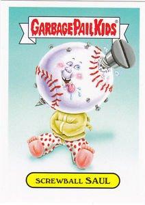 "2015 GARBAGE PAIL KIDS SERIES 1  ""SCREWBALL SAUL"" #9 MASCOT STICKER INSERT"