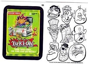 """WACKY PACKAGES 2015 SERIES 1 WACKY BACKS CARD """"YU-KI-OH!"""" #93 RARE BACK"""