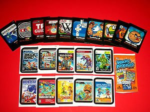 "2012 WACKY PACKAGES ANS9 BOTH ""AWFUL APPS & LAME GAME"" COMPLETE SETS + WRAPPER"