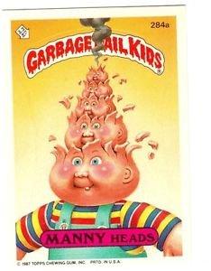 "1987 GARBAGE PAIL KIDS ORIGINAL 7TH SERIES ""MANNY HEADS"" #284a STICKER CARD"
