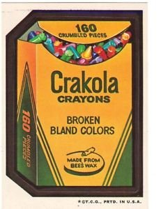 "1974 WACKY PACKAGES WONDER BREAD 2nd SERIES ""CRAKOLA CRAYONS"" STICKER"
