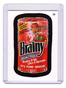 """2014 WACKY PACKAGES SERIES 1 """"BRAINY"""" #33 STICKER CARD!!"""