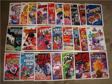 2011 CEREAL KILLERS 1ST SERIES LOT OF 25 CARDS like WACKY PACKAGES by JOE SIMKO