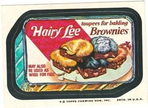 """1974 WACKY PACKAGES ORIGINAL 10TH SERIES """"HAIRY LEE CAKE"""" STICKER"""
