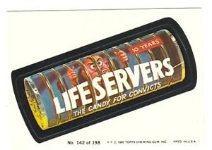 """1980 WACKY PACKAGES 3RD SERIES """"LIFE SERVERS"""" #142 STICKER CARD"""