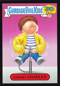 "2015 GARBAGE PAIL KIDS 30th ANNIVERSARY ""CHEEKY CHARLES"" BLACK BORDER CARD #1b"